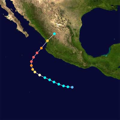 Verlaufsvorhersage für Hurrikan Kenna